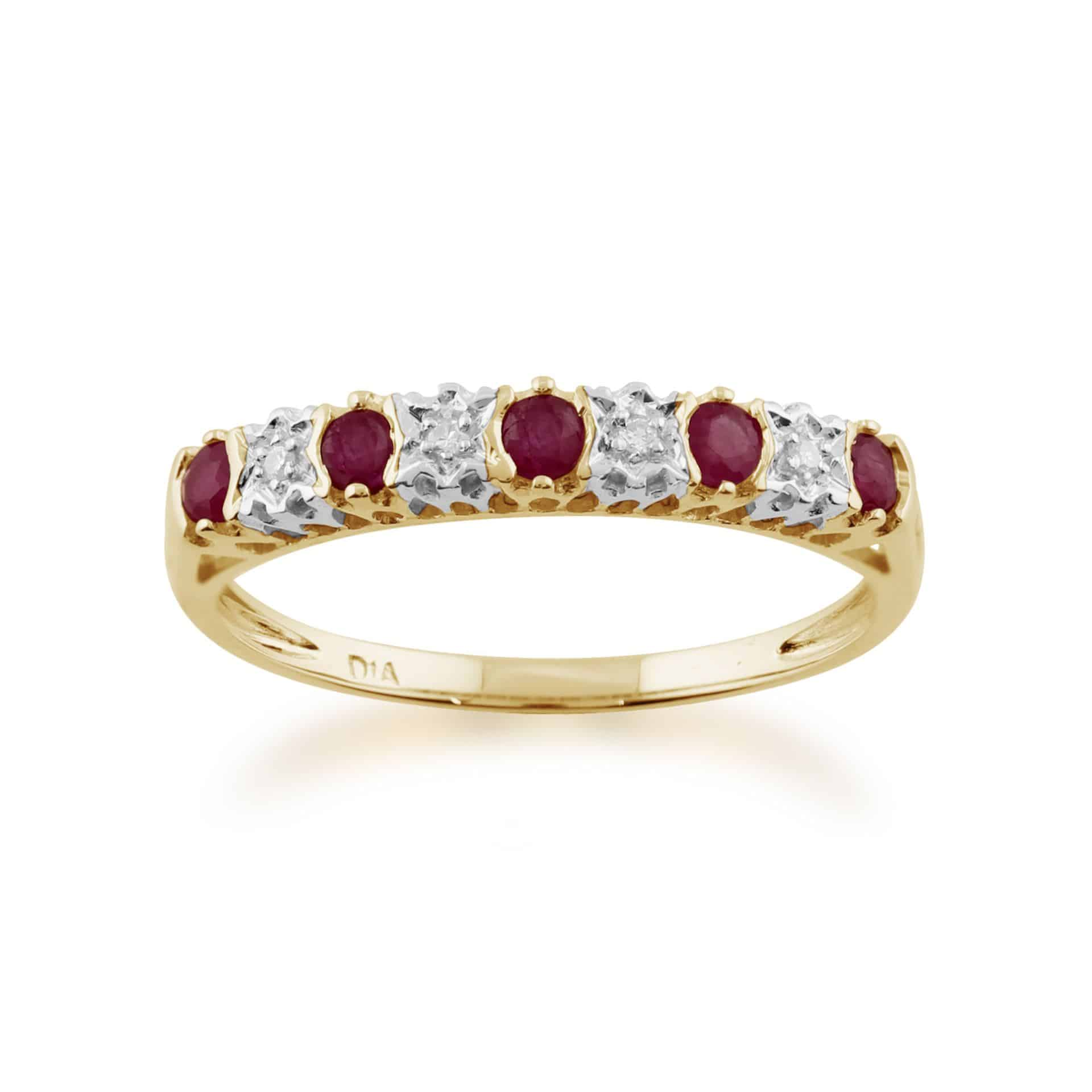 9ct Yellow Gold 0.31ct Natural Ruby & 2pt Diamond Half Eternity Ring
