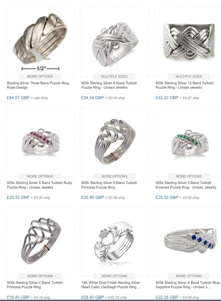Sterling silver puzzle rings