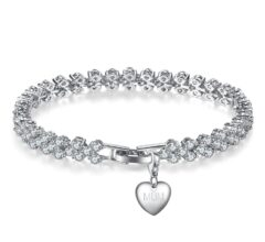7CT SIMULATED SAPPHIRE RHODIUM PLATED MULTI LINK BRACELET WITH CHARM